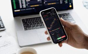 Handy mit Aktiencharts